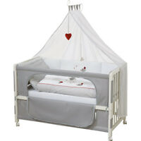 Cuna nueva para COLECHO, con colchón, ropa de cama y ruedas - Gris5 Moon