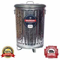 Burner Trash Composter Garbage Rubbish Barrel 20 Gallon Weather Resistant New