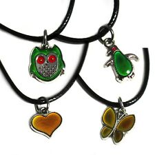 Colour-changing mood necklace with pendant. Heart butterfly penguin owl shapes