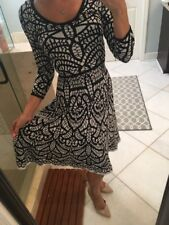 CARMEN MARC VALVO Black White Print 3/4 Sleeve Sweater Stretch Dress Xs Nice!