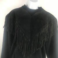 Pioneer Wear Leather Fringe Sweater SZ M Black Vintage