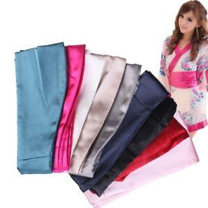 Women Satin Silk Obi Belt Japanese Kimono Yukata Wide Band Lace Up Waistband