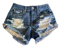 AMERICAN EAGLE OUTFITTERS AEO DENIM SHORTIE DESTROYED CUT OFF JEAN SHORTS Sz 2