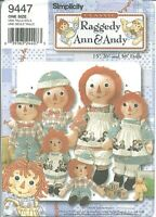"""S 9447 sewing pattern Raggedy Ann Andy RAG DOLLS & CLOTHES sew sizes 15"""" 26"""" 36"""""""