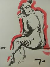 JOSE TRUJILLO - MODERN ABSTRACT EXPRESSIONIST INK WASH RED NUDE FIGURE 18X24 ART