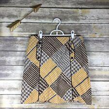 Maeve Anthropologie Women's Sz 8 Diamond Houndstooth Retro Pattern A Line Skirt