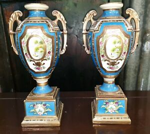 Antique 1908 Nippon Noritake porcelein urns vases hand painted beaded gold
