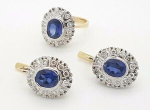 RUSSIAN VINTAGE STYLE 14K YELLOW GOLD DIAMOND & BLUE SAPPHIRE EARRINGS RING SET