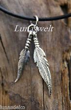 Indianerkette Silberanhänger 2 Federn  mit Lederband