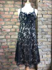 Oasis UK 12 black lace fitted to waist A line dress Vintage Pin up look