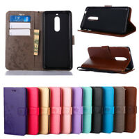 For Nokia 3 5 6 (2017) 3D Butterfly Pattern Leather Wallet Flip Stand Case Cover