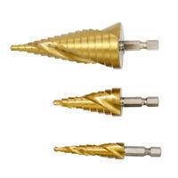 3Pcs HSS Spiral Groove Step Drill Bit Set Hex Shank Cone Cutter 4 -12/20/32mm