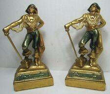 Antique Pirate Treasure Chest Sword Daison 24kt gold plated Bookends ornate pair