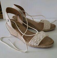 LUCKY BRAND White Crochet Espadrille wedge Ankle Tie sandals Heels 7.5 NWOB
