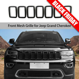 Black Front Grille Grill Inserts Ring Cover Trim Fit Jeep Grand Cherokee 2017+
