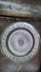 """Cut Glass 13"""" Large Serving Tray Cake Plate Vintage HEAVY deep cut pattern VGC"""