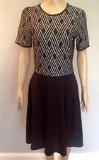 Jane Norman Black & White Jacquard Skater Jumper Dress Size 12