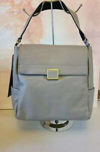 KENNETH COLE Techni-Cole Gray Leather Christie Backpack Shoulder Bag NEW