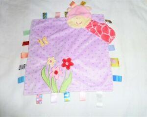 TAGGIES Purple Polka Dot Plush Giraffe Lovey Security Blanket Flowers Butterfly
