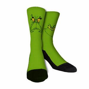 Happy and Mean Grinch unisex Custom novelty Socks Christmas holiday