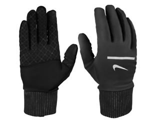 Nike Gloves Mens XL Black and Silver Authentic Dry Sphere 2.0 Reflective Running