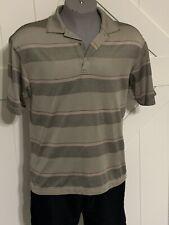 Ping Medium Performance Dynamics Brown Pink Black White Striped Golf Polo Shirt