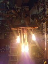 lampadario ruota di carro con 6 funi attacco e27 lampadine vintage incluse