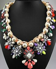 New woman Pendant Glass Crystal Bib Statement chunky Pearl Wedding Necklace 537