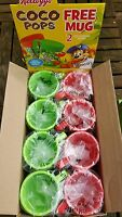 KELLOGGS 2013 COCO-POPS PLASTIC TWIST PUZZLE MUGS RED & GREEN 8 IN TOTAL
