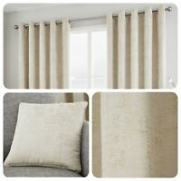Curtina SOLENT Natural - Metallic Jacquard Eyelet Curtain / Cushions Collection