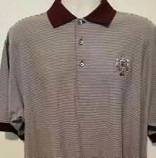 Mens Fairway & Greene Detroit Golf Club 1899 Polo size large. Burgandy striped