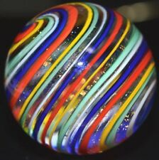 "HANDMADE GLASS MARBLE/1.902""-DICHROIC RAINBOW SWIRL-TOE BREAKER-ROYAL,ORANGE-YLW"