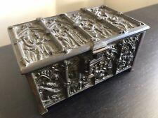 ANTIQUE ERHARD & SOHNE FIGURAL RELIGIOUS ART BRONZE RELIEF TOBACCO JEWELRY BOX