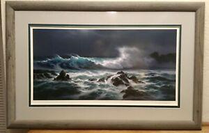 Framed Roy Tabora Hand Signed Print - Light Of The Midnight Sea - COA 1993 LE