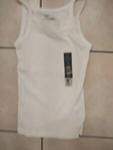 Faded Glory Girls White Cami Camisola Shirt  Size 6/6X S