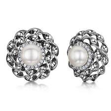 Frauen Damen Titan Ohrringe Blume Einstellung Perle & Zirkonia Modische Ohrringe