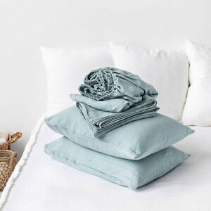 100% PURE LINEN BEDROOM SHEETS SET FLAX  SEAMLESS OEKO-TEX LIGHT BLUE SUMMER