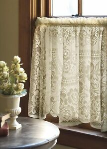 "Victorian Rose Ecru Country Lace Floral Window Cafe Tier 60"" x 30"""