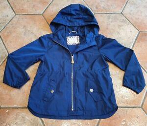 ZARA GIRLS NAVY BLUE LIGHTWEIGHT HOODED RAIN COAT JACKET - 6/7 YEARS