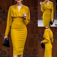 Women Long Sleeve Pleated Bodycon Dresses Ladies V-Neck Slim Fit Evening Dress