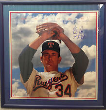 Nolan Ryan Signed Framed photo litho  Ins 7 No Hitters Bold Autograph  COA 20x28