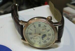 Stauer Mens Off Beige Dial Maroon Leather Strap Quartz Watch 20390