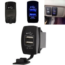Waterproof Dual USB Port Power Supply Charger Blue Indicator Light for Auto Car