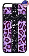 Case Cover For Apple iPhone 7 / 7 plus Cross Black Purple Leopard Animal Print