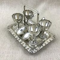 Antique Silver Plated Egg Cup Stand Cruet Set Victorian Walker and Hall
