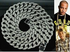 "Mens Silver Iced Out Hip Hop CZ Rapper Style Cuban Link 14mm 36"" Chain necklace"