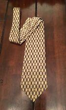 Men's Burma Bibas 100% Silk Brown and Cream Geo Print Neck Tie Made in USA