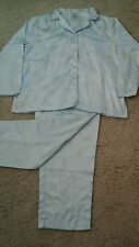 Mary Engelbreit Dream Wear Women Solid Blue Satin Brocade Pajama Set.    Size L