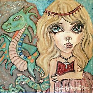 Princess and Amphitere Dragon 5x7 Art Print Signed by Artist KSams Big Eyes