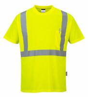 Hi Vis Short Sleeve T-Shirt Pocket Protective Safety ANSI Orange Yellow, S190
